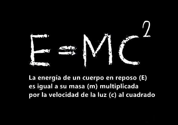la energía de un cuerpo en reposo (E) es igual a su masa (m) multiplicada por la velocidad de la luz (c) al cuadrado