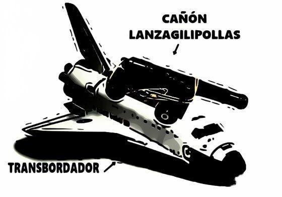 el transbordador con el cañón de gilinautas integrado