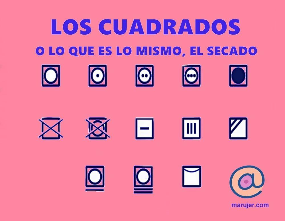 Los cuadrados de la etiqueta de lavado simbolizan el secado, si se puede o no utilizar secadora