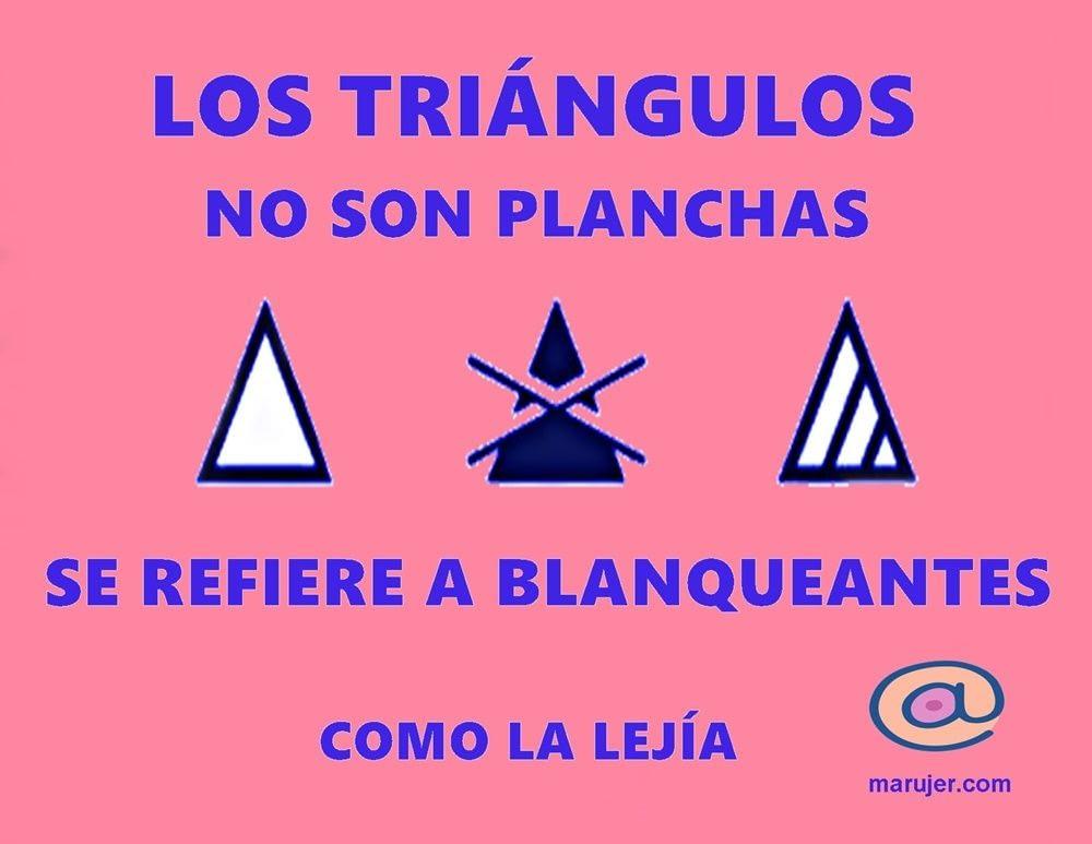 Los triángulos de la etiqueta de la ropa hablan del uso de lejías y otros blanqueantes
