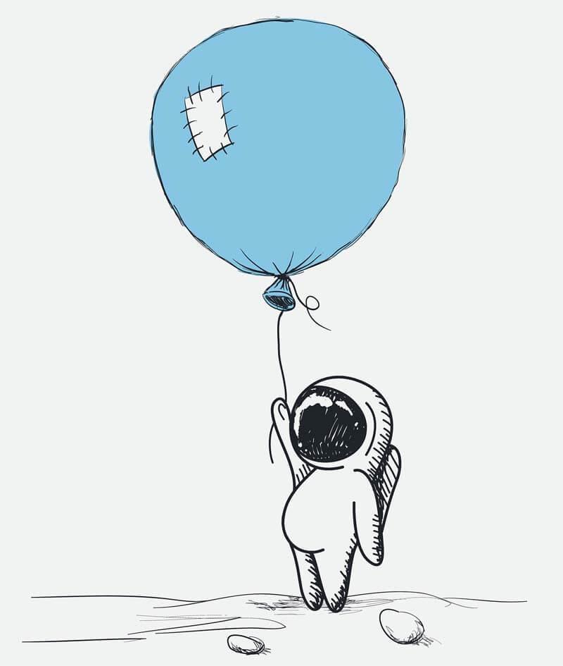 astronatuta con globo