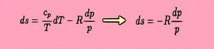 fórmula para calcular la entropía entre dos gases a temperatura constante